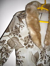 ITALIAN DESIGNER NWT MESH TOP BLOUSE FAUX FUR COLLAR  XS S 4 6 MADE IN ITALY