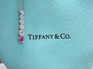 Tiffany & Co Platinum Jazz Graduated Diamond Sapphire Pendant