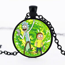 1 pcs Rick and Morty Photo Glass Dome Necklace black Chain Pendant Necklace
