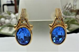 ESTATE DESIGNER SIGNED SWAROVSKI BLUE GLASS STONE CRYSTAL RHINESTONE EARRINGS