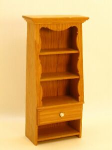 William Stout 3-Shelf Cabinet Bookcase with Drawer Artisan Dollhouse Miniature