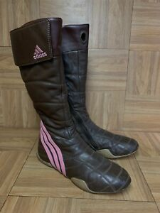 VNTG🔥 Adidas Tall Brown Leather Racing Quilted Boots Motorcycle Riding Sz 6.5