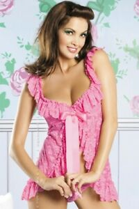 Sexy Lingerie Stretch Lace Peasant Styled Babydoll + Thong Pink
