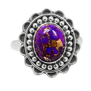 Filigree - Copper Purple Turquoise - Arizona 925 Silver Ring s.7.5 BR96054