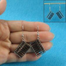 Beautiful Abacus Design Genuine Black Onyx Solid Silver 925 Hook Earrings