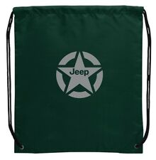 "BRAND NEW LICENSED JEEP HUNTER GREEN DRAWSTRING BAG! 14.25 W x 16.5"" H!"