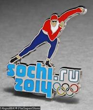 OLYMPIC PINS BADGE 2014 SOCHI RUSSIA CUT OUT SPORT OF SPEED SKATER (SILVER)