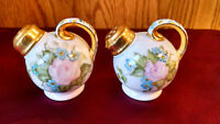 Vintage, Hand painted Porcelain salt and pepper shakers screw lid