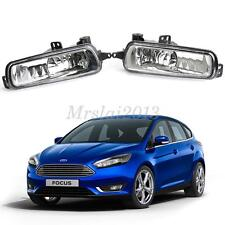 Pair Clear Front Bumper Fog Lights Driving Lamps+Bulbs For Ford Focus 2015