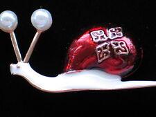 "FUN RED WHITE PEARL CRAWLING BUG INSECT GRUB SLUG SNAIL PIN BROOCH JEWELRY 1.5"""