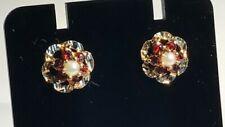 9ct Yellow Gold Vintage Style Garnet & Pearl Stud Earrings Hallmarked