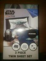 Star Wars The Mandalorian Baby Yoda 3 Piece Twin Bedding Sheet Set NEW