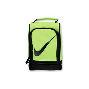 Nike Insulated Reflective Yellow Volt Double Compartments Swoosh Lunch Bag