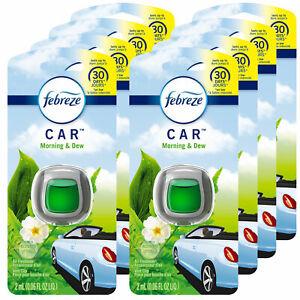 Febreze Car Vent Clips Air Freshener and Odor Eliminator, Morning & Dew (8 Pack)