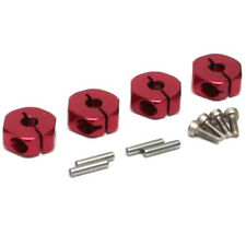 Boom Racing 12mm Alum Wheel Hex Adaptors w/ Lock Screws Pins & Screws (4) Red