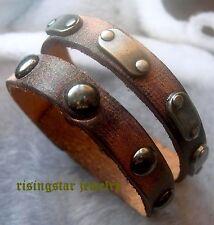 Men Cool Ancient Roman Gladiator Leather Metal Studs Hip Hop Bracelet Wristband