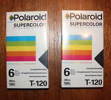 2 Polaroid Supercolor VHS Blank Video Tapes • Japan Made • T-120 - New Sealed