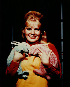 Marta Kristen rare smiling pose holding different colored rabbits Lost in Space