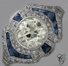 2.3ct Antique Art Deco Sapphire and Round Diamond Engagement Ring 14K White Gold