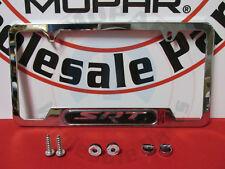 DODGE CHRYSLER JEEP CHROME License Plate Frame With SRT Emblem NEW OEM MOPAR
