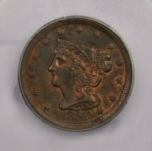 1857-P 1857 Braided Hair Cent ICG MS62 BR brown red