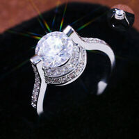 Rings Gorgeous Round Size 6-10 for Women Wedding Silver plated White Sapphire