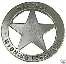 MARSHAL WYOMING TERRITORY OLD WEST LAWMAN POLICE BADGE Obsolete Made in USA 21