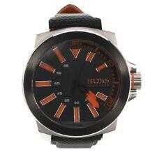 Hugo Boss Black & Orange Mens Watch Stainless Steel Leather Strap Model 1513116