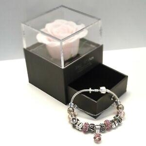 GIFTS FOR HER  Preserved Rose Box Eternal Flower With Bracelet Gift  UK