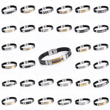 Men's Women's Punk Stainless Steel Black Rubber Wristband Cuff Bracelet Bangle