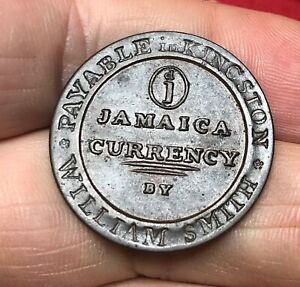 Jamaica - William Smith Copper Penny Token 1829 Kingston - Excellent Condition