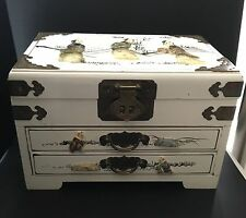 VINTAGE CHINESE JEWELRY BOX - WOOD WITH HAND PAINTED & HAND CARVED ACCENTS