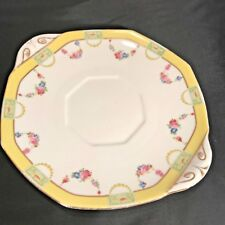 Antique Royal Doulton Two Handle Platter Cake Plate H213 Yellow Band Floral Swag