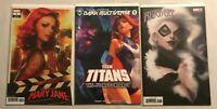 ARTGERM Variant Lot Black Cat 1  Teen Titans 1 Mary Jane 1  NM Gemini Ship!