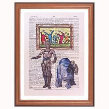 R2D2 C3P0 vs Keith Haring Star Wars quote Dictionary page art print gift collect