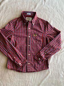 Abercrombie Kids Long Sleeve Button Down Dress Muscle Shirt Sz Large L Red Plaid