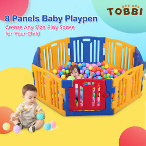 Baby Playpen 8 Panel Folding Kids Safety Gates Plastic Play Pen Indoor Portable
