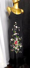 SUE WONG Spaghetti Dress 100% Black Silk Floral Embroidery Fringe Hem Maxi
