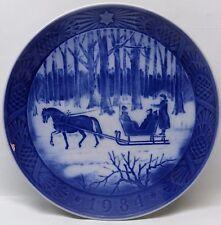 Royal Copenhagen 1984 Blue Christmas Plate JINGLE BELLS Horse Sleigh Ride + Box