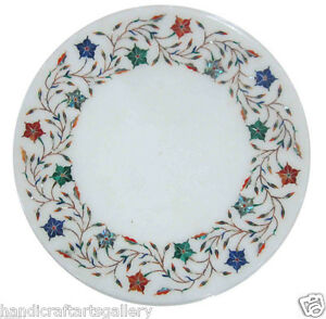 """12"""" White Marble Round Coffee Table Top Marquetry Multi Stone Inlay Floral Decor"""