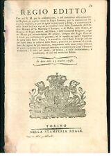 REGIO EDITTO 1798 SPESE STRAORDINARIE DIFESA ORDINE BENI SS. MAURIZIO E LAZZARO