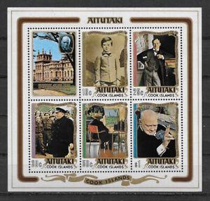 AITUTAKI , COOK ISLANDS ,1974 , CHURCHILL , SOUVENIR SHEET , PERF , MNH ,CV$4.50