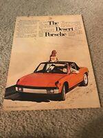 """Vintage 1973 PORSCHE CONVERTIBLE Car Print Ad 1970s ORANGE """"THE DESERT PORSCHE"""""""