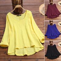 ZANZEA 8-24 Women Long Sleeve Blouse Top T Shirt Tee Cotton Loose Plain Basic