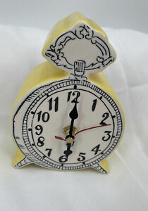 Anthropologie Tick Tock Clock MOLLY HATCH white Yellow ceramic VHTF