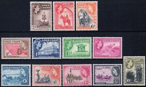 Gold Coast 1952 QEII complete set of 12 mint stamps value to 10 shillings LMM