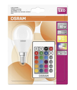 Osram LED Star Colour Changing Golf Ball E14 Bulb RGBW Dimmable Remote Control
