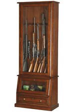 Locking Gun Cabinet Wood Display Solid Tempered Glass Shotgun Stores 12 Rifles