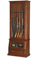 Locking Gun Cabinet Wood Display Solid Tempered Glass Shotgun Stores 12 Rifles