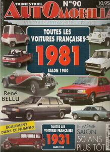 AUTOMOBILIA 90 LES VOITURES FRANCAISES 1981 (SALON 1980) et 1931 (SALON 1930)